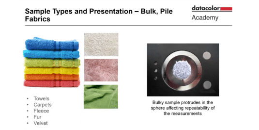 How to measure the color of towels, carpets, fleece, velvet and more